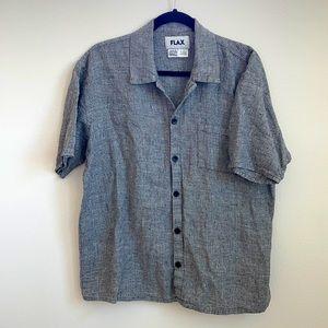 Flax grey short sleeve oversized linen shirt small